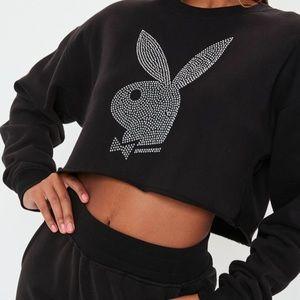 Playboy Diamonte Cropped Hoodie
